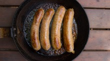 Curvy sausages are made from natural casings or intestines.