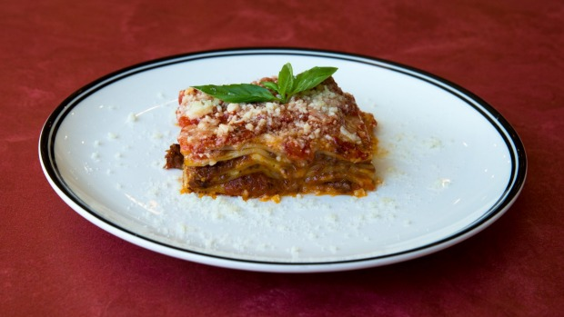 The lasagne is the less cloying, tomato-based style layered with bolognese sauce.