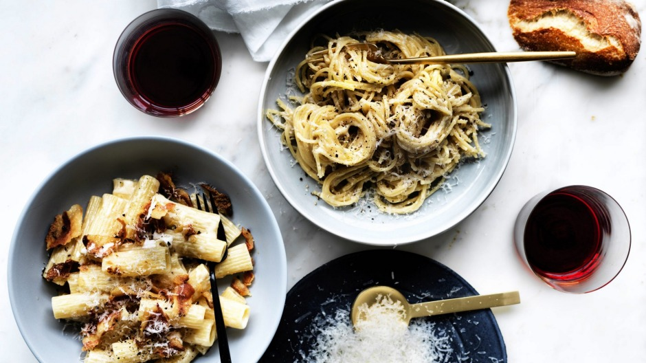 Pasta alla grica (left) and cacio e pepe are simple classics - pre-grated parmesan is forbidden.