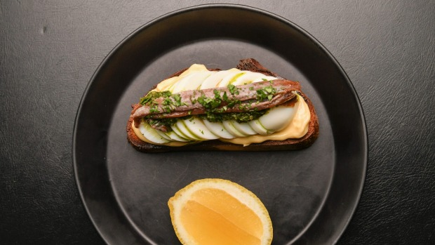 Anchovy on toast at Napier Quarter cafe and wine bar in Fitzroy.