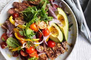 Adam Liaw's steak and avocado salad.