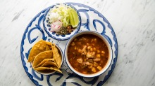 Go-to dish: Pozole rojo braised pork soup.