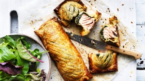 Salmon and creamed spinach en croute.