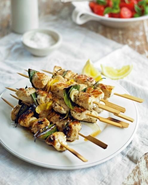 Bay leaf and lemon chicken skewers with parsley sauce <a ...