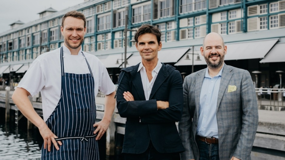 From left: Group executive chef Kasper Christensen with Matthew Kenney and Ovolo Woolloomooloo general manager David Sude.