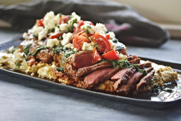 Katrina Meynink's butterflied harissa lamb with white bean and feta puree and herb gremolata, becomes a quick quinoa ...