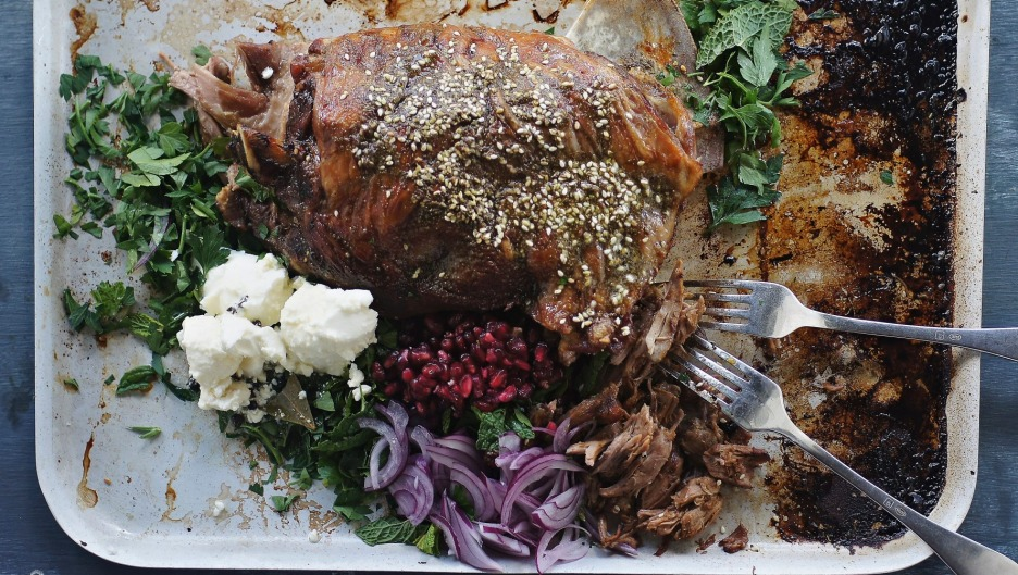 Middle Eastern slow-roasted lamb shoulder.