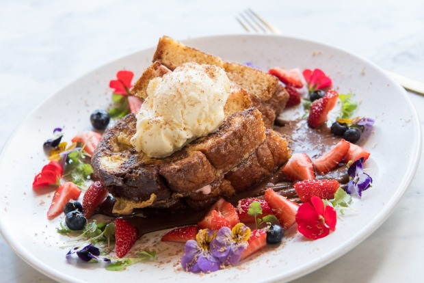 French toast and strawberry cheesecake at Riddik in Templestowe.