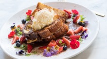 French toast sandwiched with strawberry cheesecake served with toasted coconut ice-cream.