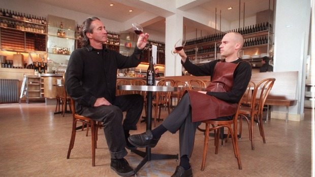 Donlevy Fitzpatrick (left) and Maurice Terzini in the Melbourne Wine Room.