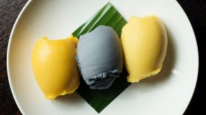 Three sorbets - charcoal coconut, mango lychee and yuzu passionfruit.