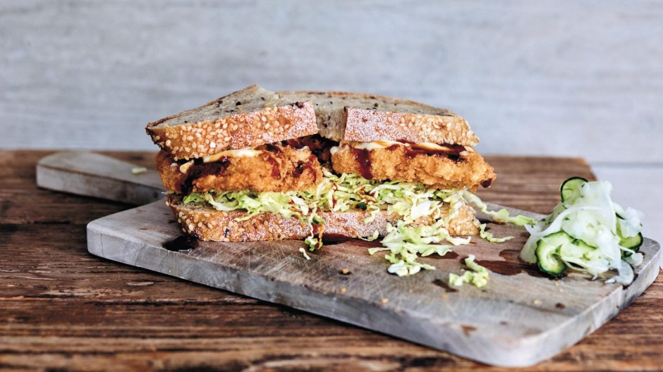 Katsu sandwich with pickled fennel and cucumber.