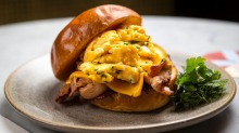 The Good Morning sandwich with scrambled eggs, cheese, bacon and jalapeno mayo.