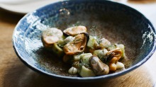 Mussel 'salad' with chickpeas, dill and garlic aioli.