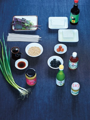 Some of the core ingredients in a Japanese pantry.