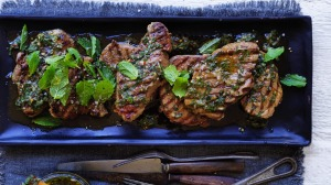 Argentinian-style barbecued lamb steaks with mint chimichurri.