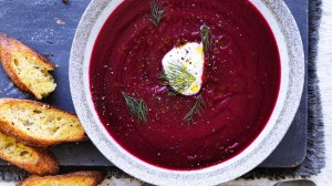 Borscht with buttered bread.