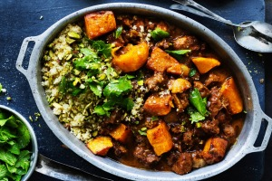 Spicy lamb braise with pistachio nuts and roast pumpkin chunks.