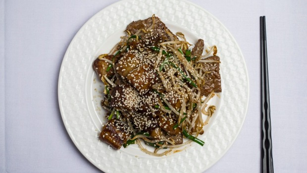 Fried rice noodles with wagyu beef  is a heartier version of Cantonese beef hor fun.