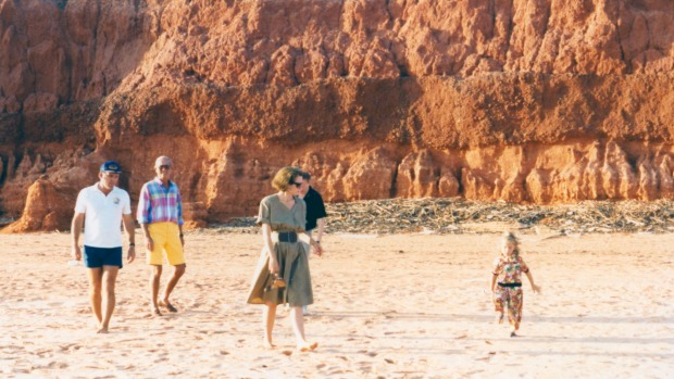 McAlpine with her family on the beach in Broome.