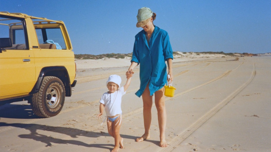 A young Skye McAlpine with her mother in Broome.