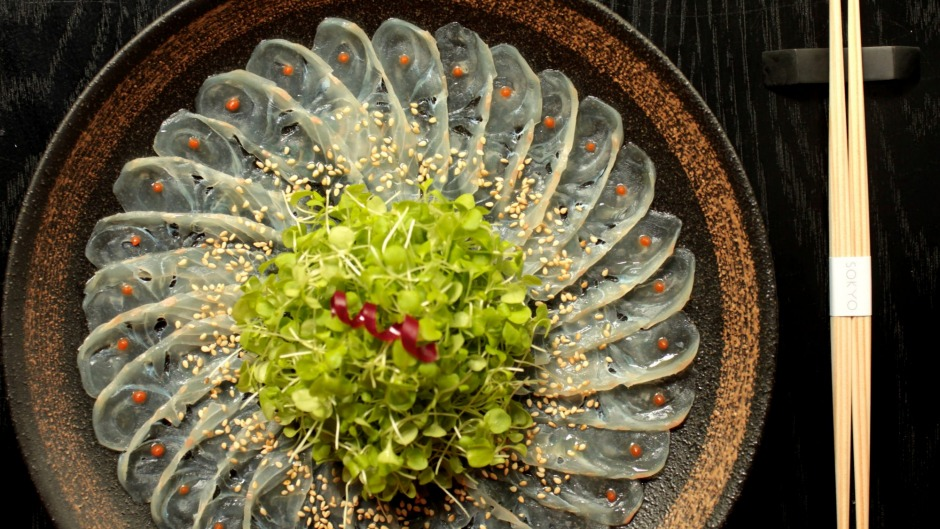 Precision sashimi with spicy lime vinaigrette at Sokyo in Sydney.
