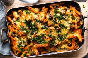 Adam Liaw's mushroom and spinach stroganoff pasta bake.