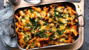 This stroganoff-inspired pasta bake skips the beef.
