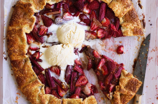 Helen Goh's rhubarb and strawberry galette with cream cheese pastry <a ...
