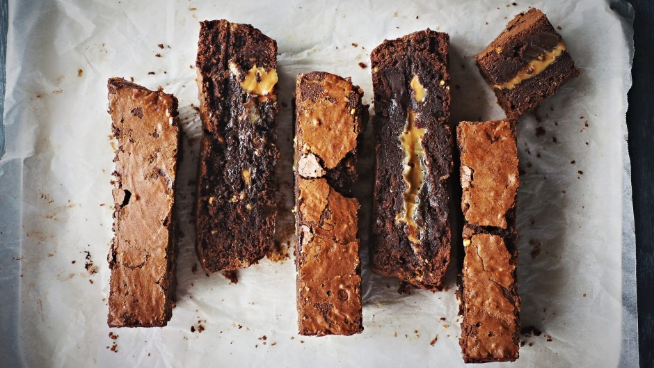 Fudgy caramel-centred brownies with their tell-tale crisp outer shell.