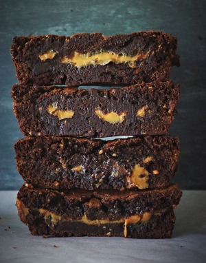 Dark chocolate, peanut butter and dulce de leche brownies.