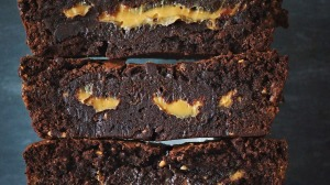 Peanutty brownies with a hidden caramel centre.
