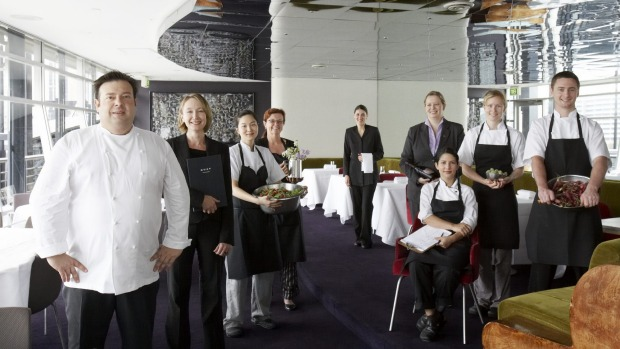 Analiese Gregory (third from right) during her Quay days, with chef Peter Gilmore and the rest of the Quay team.