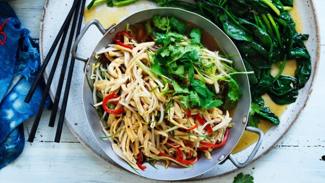Pick up a cooked chook for this stir-fry.