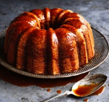 Helen Goh's banana, coffee and cardamom bundt cake with coffee caramel.