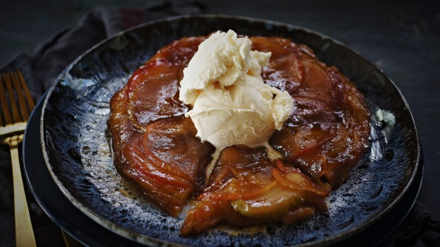 Spiced apple tarte tatin with ginger beer caramel. Tarte tatin recipes for Good Food April 2018. Please credit Katrina ...