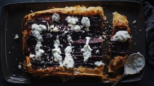 Purple heirloom carrots make for a dark and handsome tart.