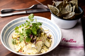 Coconut ceviche with blue corn chips features on Priscillas' veg-focused menu.