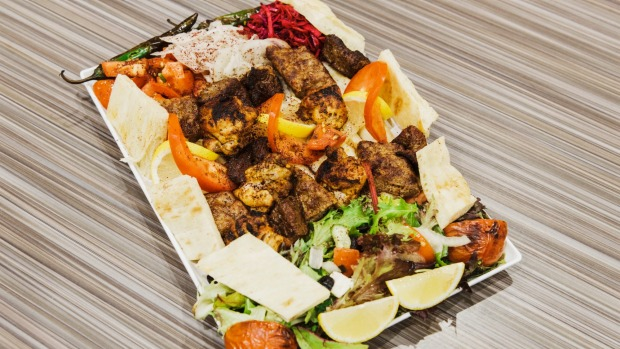 Good Food. New Star Kebabs in Auburn. Photo shows the Mixed shish plate. Thursday 5th April 2018. Photograph by James Brickwood. SMH GOOD FOOD 180405