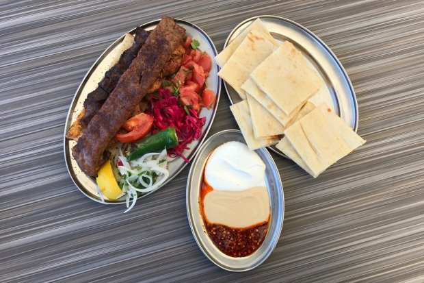 The mixed shish plate from New Star Kebab in Auburn.