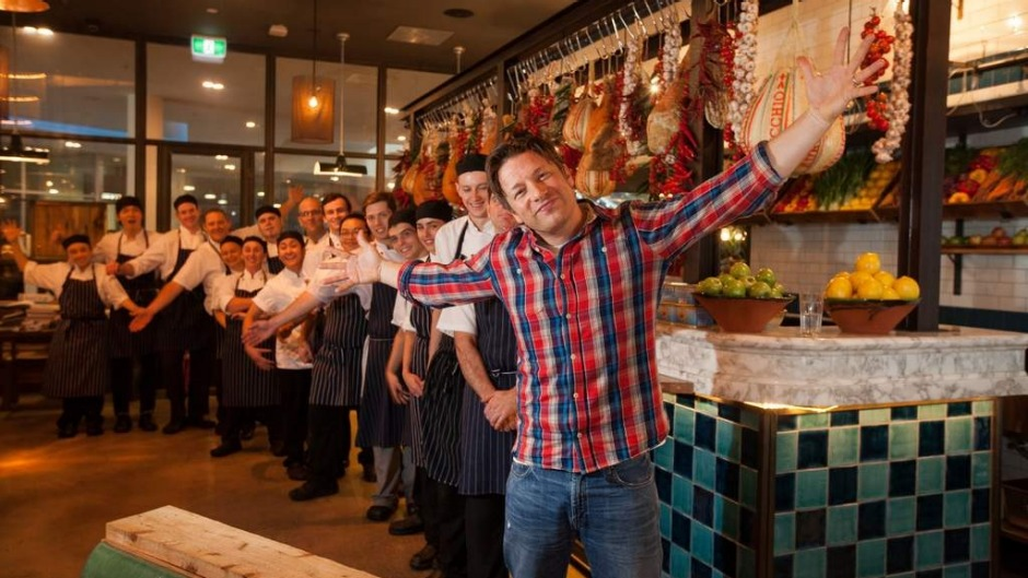 Chef Jamie Oliver visits his Canberra restaurant Jamie's Italian in 2014.