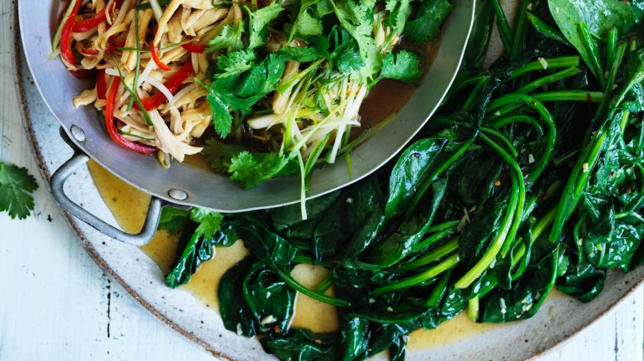 Stir-fried spinach with garlic and chilli (pictured with roast chicken stir-fry).
