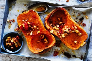Adam Liaw's roast pumpkin with macadamia and chilli.