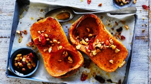 Roast pumpkin with macadamia and chilli.