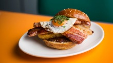 Matinee's breakfast burger with thick bourbon bacon.