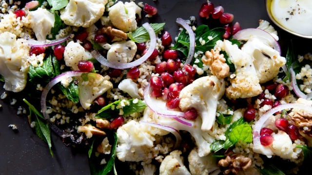 Warm cauliflower and pomegranate salad.