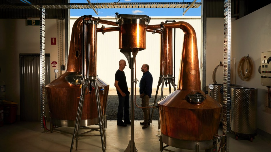 Chris Pratt and Scott Wilson-Browne in their Ballarat distillery, Kilderkin.
