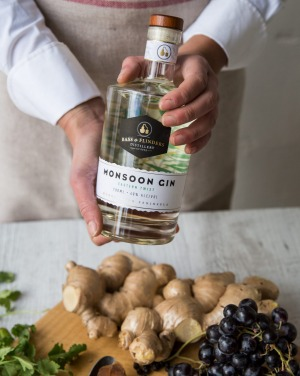 Australian shiraz spirit combines with juniper berries and ginger in Bass & Flinders' Monsoon gin.