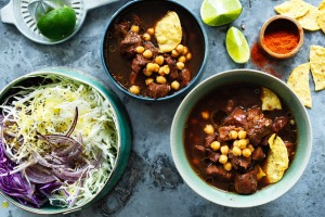 Mexican style pork and chickpea soup