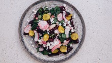 Steamed beetroot and leaves, breakfast radish, fresh herbs, caramelised walnuts and herbed feta.